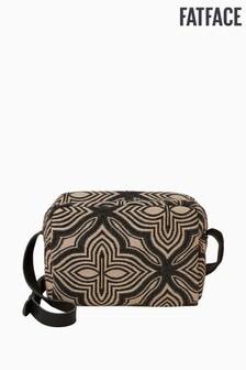 FatFace Black Geo Woven Small Cross Body Bag