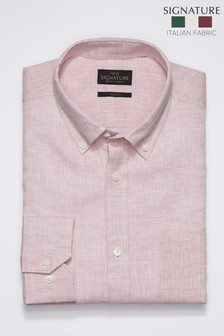 Pink Slim Fit Single Cuff Signature Nova Fides Linen Shirt