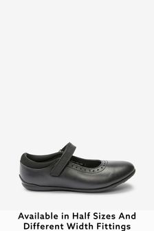 Black Standard Fit (F) Leather Mary Jane Brogues