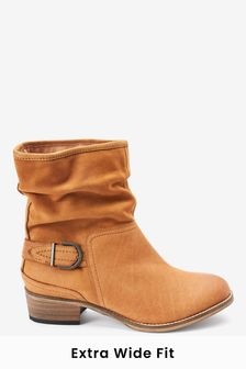 Tan Extra Wide Fit Forever Comfort® Slouch Ankle Boots