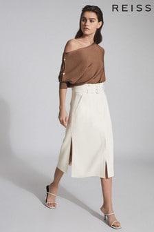 Reiss White Luno Belted Midi Skirt