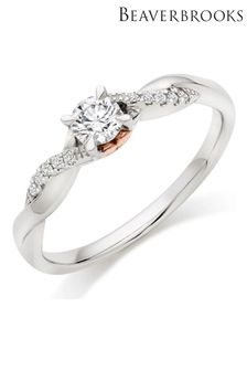 Beaverbrooks Hearts 18ct White Gold And Rose Gold Diamond Solitaire Ring
