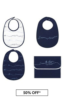 Navy Baby Bibs Set With Pouch