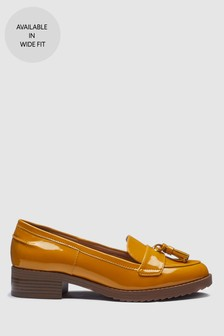 Ochre Patent  Cleated Tassel Loafers