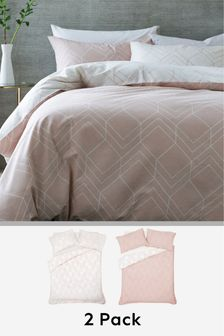 Pink  2 Pack Geo Lines Duvet Cover and Pillowcase Set