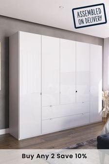 White Glass Monroe Five Door Wardrobe