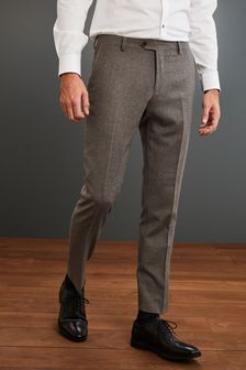 Brown Slim Fit Signature Flannel Suit: Trousers
