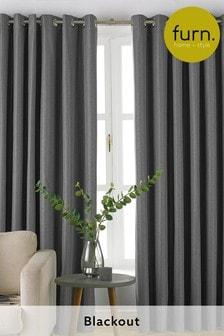 Furn Grey Moon Blackout Eyelet Curtains
