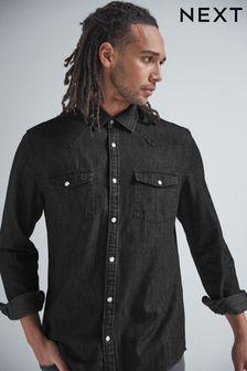 Black Regular Fit Denim Western Shirt