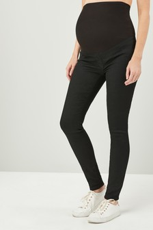 Black Maternity Over The Bump Denim Leggings