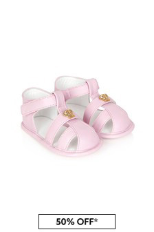 Versace Baby Girls Pink Leather Sandals