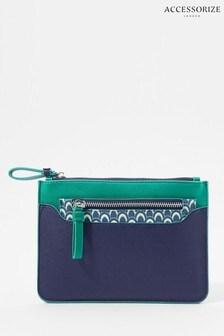 Accessorize Blue Geo Print 2-In-1 Pouch Bag