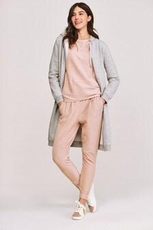 Grey Marl Zip Through Longline Jacket