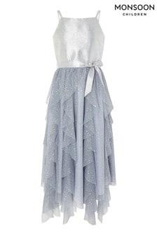 Monsoon Silver Ruffle Maxi Prom Dress