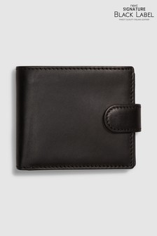 Black Signature Black Label Italian Leather Extra Capacity Bifold Wallet