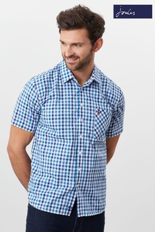 Joules Blue Wilson Short Sleeve Classic Fit Check Shirt