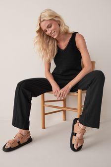 Black Modal Wide Leg Joggers