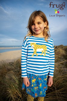 Frugi Blue Leopard Organic Cotton Long Sleeve Top