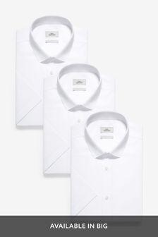 White Regular Fit Short Sleeve Shirts Three Pack