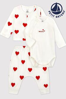 Petit Bateau White Heart Sleepsuit Gift Set