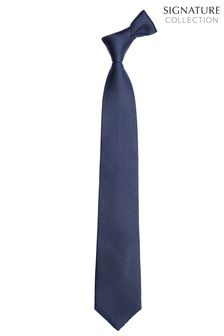 Navy Wide  Signature Textured Tie