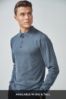 Mid Blue Marl Knitted Poloshirt