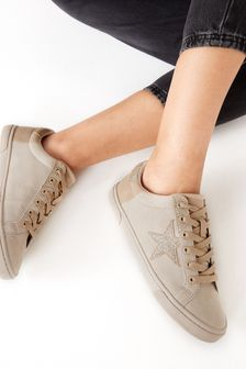 Neutral/Gold Regular/Wide Fit Forever Comfort® Star Lace-Up Trainers