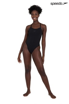 Speedo Black Solid Turnback Swimsuit