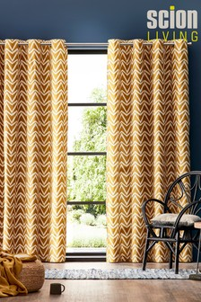 Scion Dhurrie Geo Lined Eyelet Curtains