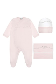 Baby Girls  Pink Cotton Babygrow With Pouch Gift Set