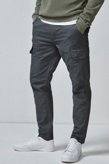 Grey Slim Fit Cotton Cargo Trousers