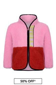 Girls Pink Colourblock Teddy Bear Jacket