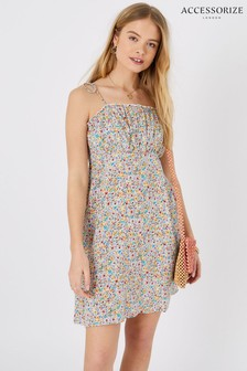 Accessorize White Ditsy Floral Ruched Mini Dress