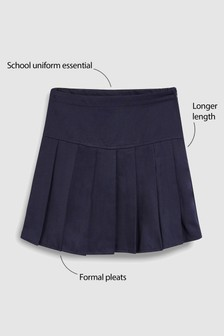Navy Longer Length Pleat Skirt (3-16yrs)