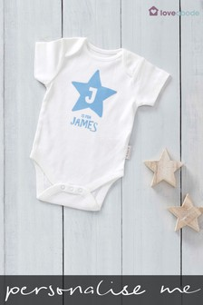 Personalised Flock Printed Named Star Design Short Sleeved Bodysuit by Loveabode