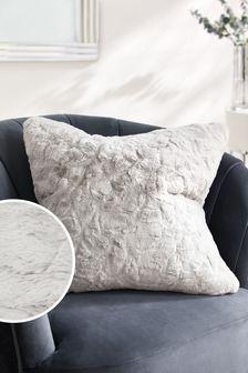 Silver Grey Textured Faux Fur Cushion