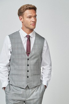 Black/White Regular Fit Check Suit: Waistcoat