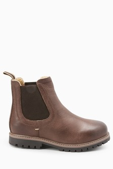 Chocolate Warmed Lined Leather Chelsea Boots (Older)