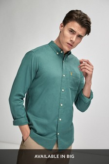 Green Slim Fit Slim Fit Roll Sleeve Lightweight Twill Shirt