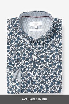White/Blue Slim Fit Slim Fit Long Sleeve Floral Print Shirt