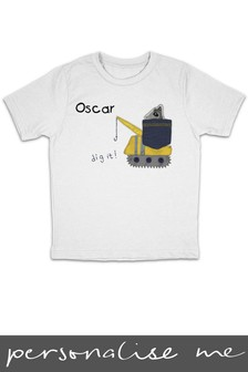 Personalised Digger Printed T-Shirt