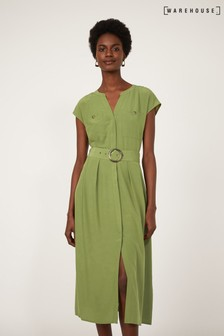 Warehouse Green Horn Ring Belted Midi Dress