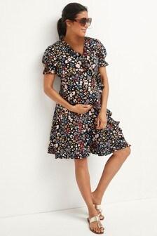 Floral Maternity Ruffle Dress