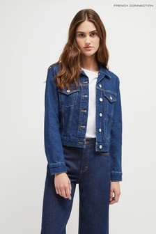 French Connection Blue Macee Micro Western Denim Jacket