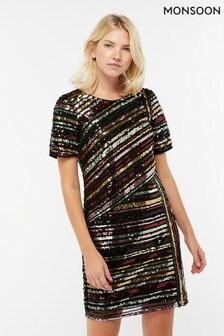 b88ff2f8bcc6a Black Monsoon Black Rainey Sequin Stripe Tunic Dress