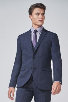 Navy/Black Slim Fit Check Suit: Jacket