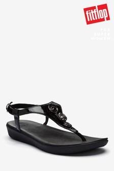 FitFlop™ Black Lainey Embellished Crinkle Patent Back Strap Sandals