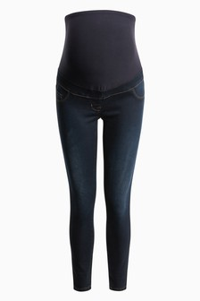 Dark Blue Maternity Over The Bump Denim Leggings