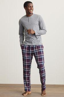 Grey/Plum Long Sleeve Grandad Cosy Motionflex Pyjama Set