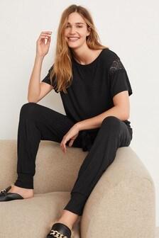 Black Modal Rib and Lace Pyjamas